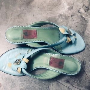 Lilly Pulitzer sz 10m blue leather heeled sandals